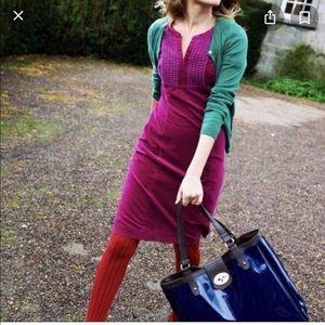 Boden dark purple velvet cotton shift dress